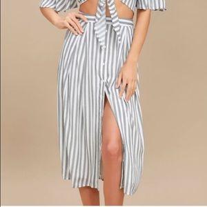 NWT Lulu's Striped Button Down Skirt